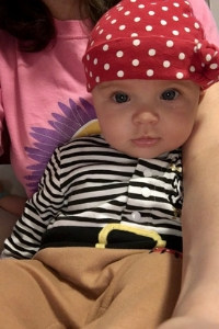 4 month old dressed as pirate