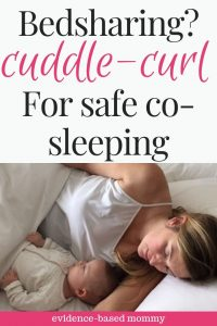 mother sleeping beside baby in cuddle curl