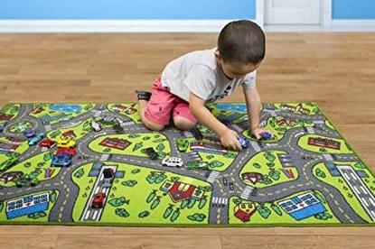 little boy on road playmat