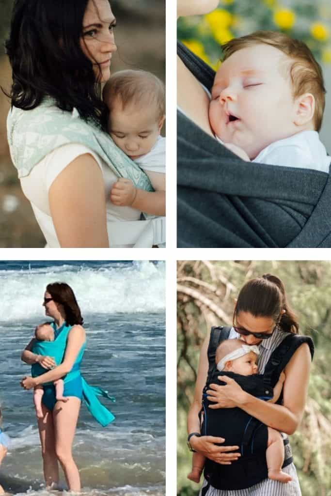 Compare soft structured carrier, baby stretchy wrap, water wrap, and mei tai
